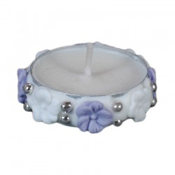 Ρεσώ διακοσμητικό για δίσκο μνημοσύνου λουλουδάκια λευκό-μωβ