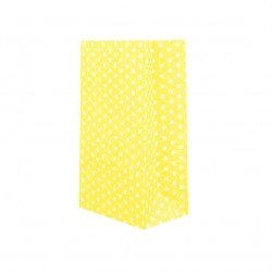 Σακουλάκι χάρτινο 9x18x6εκ.- κίτρινο πουά