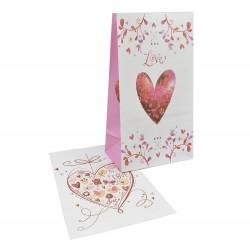 Σακουλάκι χάρτινο love καρδούλες 13x8x23cm (τυχαία επιλογή σχεδίου)
