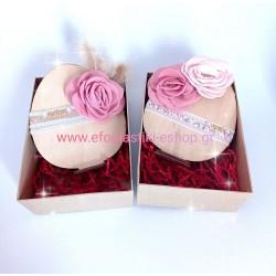 Πασχαλινο δώρο ξύλινο αυγό με βάση - λουλούδια