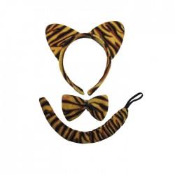Αποκριατικο σετ τίγρης (στέκα, παπιγιόν, ουρά)