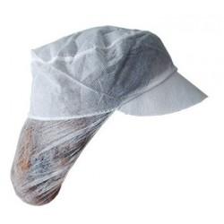 Σκουφάκι λευκό με γείσο και φιλέ από non woven - 100 τεμαχίων