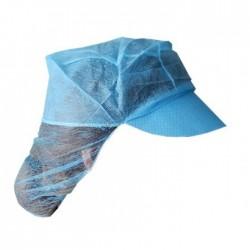 Σκουφάκι μπλε με γείσο και φιλέ από non woven - 100 τεμαχίων