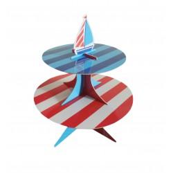 Σταντ δίπατο  διπλής όψης για γλυκά - Σχέδιο ναυτικό