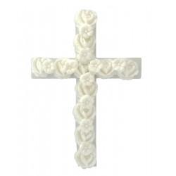 Σταυρός διακοσμητικός για δίσκο μνημοσύνου λευκός 10x13.5 cm