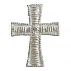 Σταυρός διακοσμητικός για δίσκο μνημοσύνου σχέδιο κριθαράκι γραμμή 9.5x12.5 cm