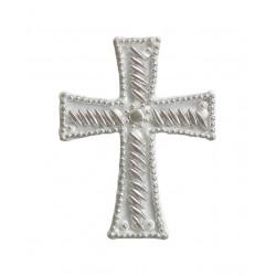Σταυρός διακοσμητικός για δίσκο μνημοσύνου σχέδιο κριθαράκι πλάγιο 9.5x12.5 cm