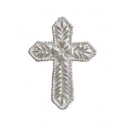 Σταυρός διακοσμητικός για δίσκο μνημοσύνου σχέδιο κριθαράκι φτέρη 10x13.5 cm