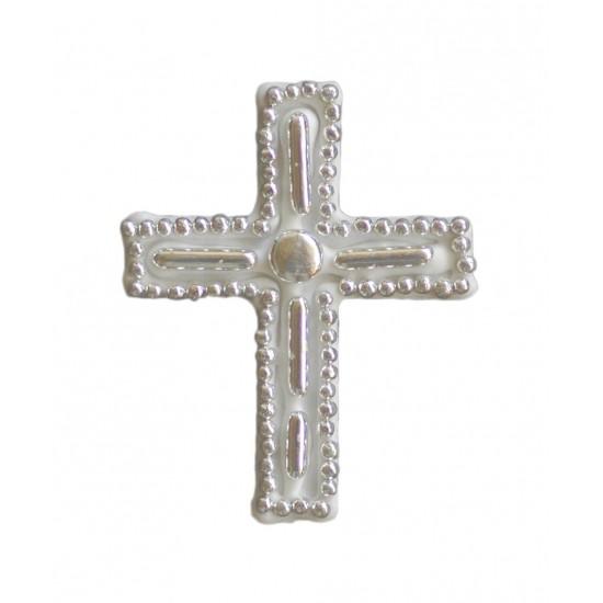 Σταυρός διακοσμητικός για δίσκο μνημοσύνου σχέδιο μακαρόνι 6.5x8.5 cm
