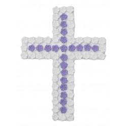 Σταυρός διακοσμητικός για δίσκο μνημοσύνου σχέδιο μπουμπουκάκια 13.5x18.5 cm