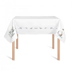 Τραπεζομάντηλο απλό εστιατορίου διαστάσεων 1x1 σχέδιο ελιά λευκό