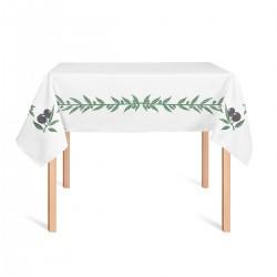 Τραπεζομάντηλο απλό εστιατορίου διαστάσεων 1x1.30 σχέδιο ελιά λευκό