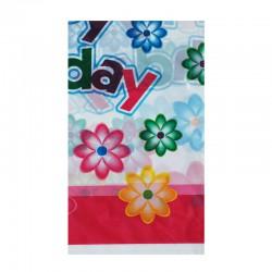 Τραπεζομάντηλο πλαστικό για party 1.08 x 1.80 m - σχέδιο λουλούδια