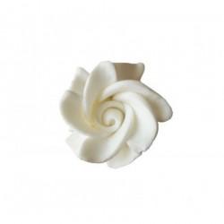 Τριαντάφυλλο διακοσμητικό για δίσκο μνημοσύνου λευκό - πράσινο 4.5x4.5x3.5 cm