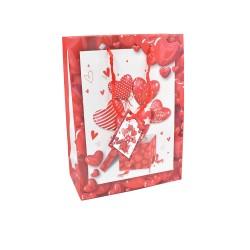 Τσάντα Αγ. Βαλεντίνου 17x8x23cm καρδιές με κάρτα