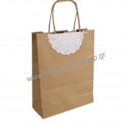 Τσάντα - σακούλα χάρτινη kraft - κραφτ 19x8x24 εκ.- στριφτή λαβή με μιση δαντέλα