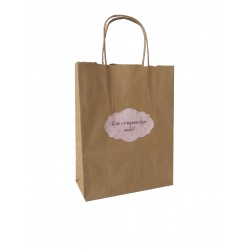 Τσάντα - σακούλα χάρτινη kraft - κραφτ 19x8x24 εκ.- στριφτή λαβή με αυτοκολλητο ροζ