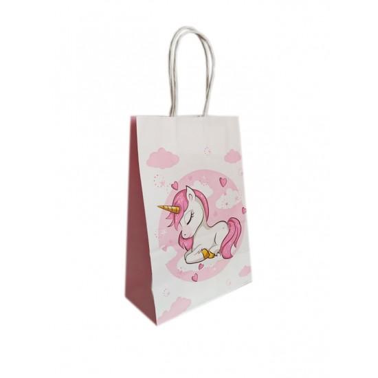 Τσάντα -σακούλα χάρτινη στριφτή λαβή 15x21cm  μονόκερος