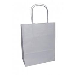 Τσάντα - σακούλα χάρτινη ασημί 25x12x37 εκ.- στριφτή λαβή