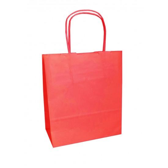 Τσάντα - σακούλα χάρτινη κόκκινη 27x12x37 εκ.- στριφτή λαβή
