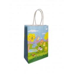 Τσάντα -σακούλα χάρτινη στριφτή λαβή 15x21cm ζώα ζούγκλας