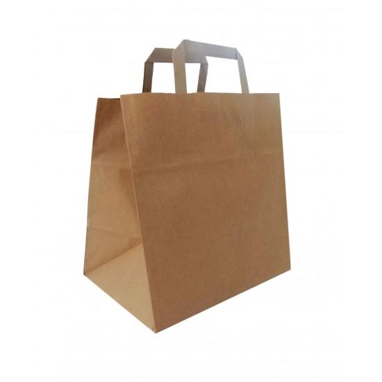 Τσάντα - σακούλα χάρτινη kraft - κραφτ 26x18x26 εκ.- πλακέ χερούλι