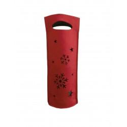 Τσάντα τσόχινη ποτών κόκκινη-γκρι 16x34 cm