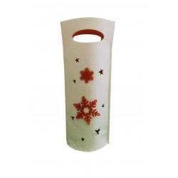 Τσάντα τσόχινη ποτών κρεμ-κόκκινη 16x34 cm