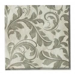 Χαρτοπετσέτα διφυλλη 33x33cm- Σχέδιο ασημένια λουλούδια