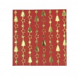 Χαρτοπετσέτα χριστουγεννιάτικη 33x33cm -σχέδιο κόκκινο χρυσό δέντρο