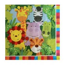 Χαρτοπετσέτα Party 33x33 cm - Σχέδιο Ζώα Ζούγκλας