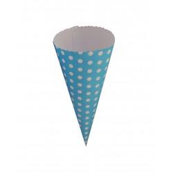 Χωνάκι χάρτινο 21x9cm γαλάζιο πουά