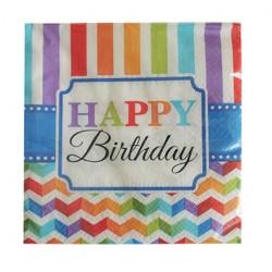 Χαρτοπετσέτα party 33x33 cm Happy birthday 16τμχ